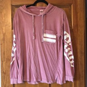 PINK hooded long sleeve shirt